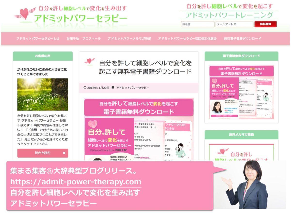 大辞典型ブログ:谷藤千秋さん 自分を許し細胞レベルで変化を起こす アドミットパワーセラピー