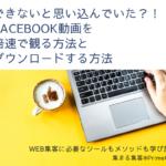 Facebookの動画を倍速で観る方法と動画をダウンロードする裏技
